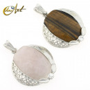 wholesale Jewelry & Watches: rose quartz or  tiger's eye - omega pendant