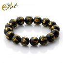 Black Agate Mantra Bracelet - 12 mm