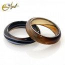 Plain medium agate banded ring