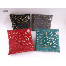 Flannel cushion motif feathers 45 x 45 cm