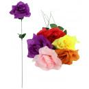 Großhandel Kunstblumen: Bauernrose mit Tau  mehrfarbig sortiert ca 47 cm