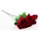 Großhandel Kunstblumen: Baccara Rose  Velourrose rot ca 58 cm