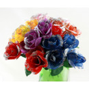 wholesale Artificial Flowers: Rose - Roses with silver glitter 6 times ca 17,5 c
