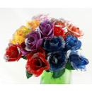 groothandel Kunstbloemen: Rose - roosjes met  zilveren glitter 6-voudige ca.