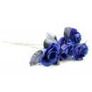 Kék rózsa, csillogással és tülltel, kb. 35 cm