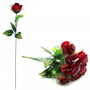 wholesale Artificial Flowers: Rose dark red with glitter and greenery ca 51 c