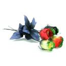 grossiste Fleurs artificielles: Rosebud avec tulle  et paillettes - ca 45 cm