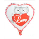 Foil balloon heart printed 2-way sorted ca 45cm