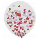 Balon wypełniony konfetti z sercem w kolorze różow