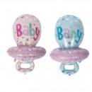 Balloon baby pacifier pink & light blue assort