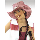 Hut - Cowboyhut rosa Pailettenoptik B-Ware Jungges