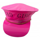 Großhandel Spielwaren: Polizeihut  Kunstleder rosa BAD GIRL