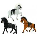 Großhandel Puppen & Plüsch: Fliska Pferd mit Sattel 3 farbig sortiert ca 18 cm