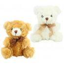 Großhandel Spielwaren: Bär sitzend mit Schleife ca 18 cm - 2 fach sortier