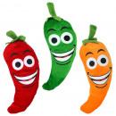 Großhandel Puppen & Plüsch: Karotte, Möhre mit Lachgesicht 3-fach sortiert ca