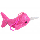 wholesale Dolls &Plush: Narwhal glitter plush with clip pink ca 12 cm