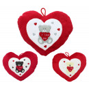Heart Pillow with bear embroidery, 3 assorted ca