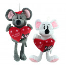 wholesale Toys: Mouse sitting m  Heart 'Be my mouse' white