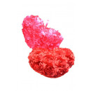 Heart with satin roses red and pink assorted 35 cm