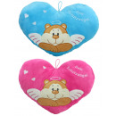 wholesale Cushions & Blankets: Guardian angel heart pillow pink and blue assorted