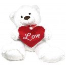 Bear sitting white with red bow ca 61 cm