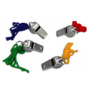 Metal whistle 4x sort with colorful Halsban