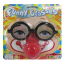 wholesale Joke Articles: Joke glasses with clown nose on card about 19x19cm