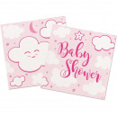 wholesale Baby Toys: Napkin Baby Shower pink ca 25x25 cm / 20 pieces in