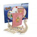 wholesale Blocks & Construction: Wickie Dragon Boat  kit in cardboard ca 43,5x29x1,