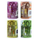 Moneybox with euro XL Design 4x assorted - ca 2