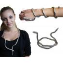 Halskette- and bracelet snake design silvercolored