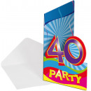 Birthday invitation '40' - ca 15x10cm