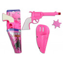 Pink pistol with holster and star - ca 24cm