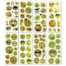 Großhandel Spielwaren: Sticker Emoticon  8-fach sortiert auf Bogen - ca 15