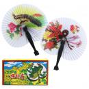Fan paper fan with plastic handle approx 24x20.5cm