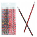 Pencil pirate with eraser 2- times assorted c
