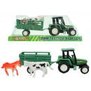 Tractor with trailer and 2 animals in box about 16