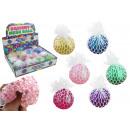 Großhandel Bälle & Schläger: Knautschball mit Glitter im Netz Ø ca 6cm