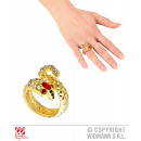 wholesale Toys: GOLDEN SNAKE RING  WITH STRASS & RED STEINAUG