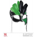 wholesale Toys: BLACK / GREEN EYE  MASK GRAND BALL WITH GEMS