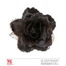 wholesale Artificial Flowers: BARRETTE WITH BLACK ROSE AND GLITTER
