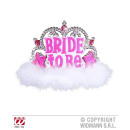 Diadem BRIDE TO BE with pink jewels and white Mar
