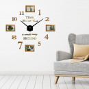 wholesale Pictures & Frames: Walplus, Wall clock with 4 photo frames, Wood colo