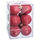 Set of 12 red glitter balls 40mm