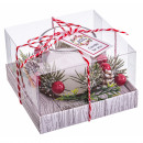 Glass jar candle + Christmas decorations 10x10