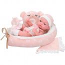 Newborn baby 25 cm with teddy bear carrycot