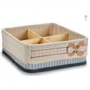 Caja forrada compartimentos Bambú 28x10