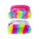 Großhandel sonstige Taschen: flauschige Regenbogentasche, 22x12x7,5cm