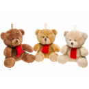 plush bear with red scarf, 16cm