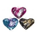 grossiste Poupees et peluches: peluche paillettes coeur l, 25x22cm